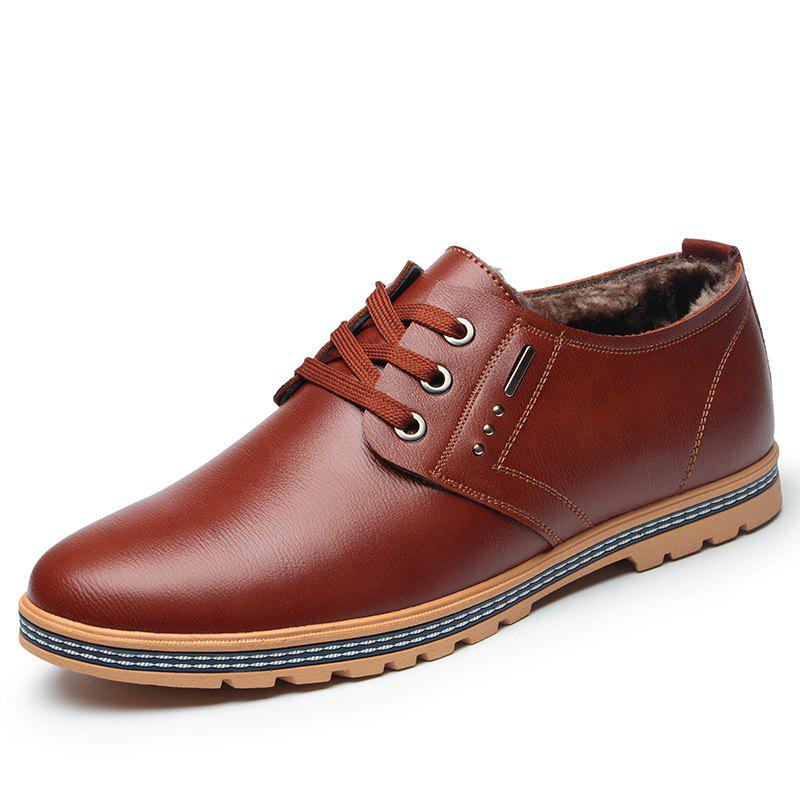 Affordable Man Casual Leather Shoes Warm Soft Wearable