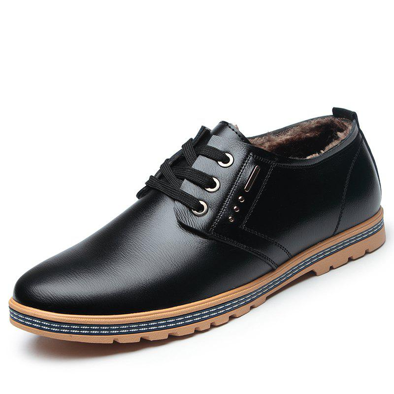Discount Man Casual Leather Shoes Warm Soft Wearable