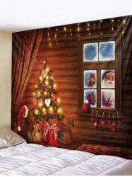Christmas House Tree Print Tapestry Wall Hanging Decoration -