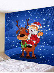 Father Christmas Elk Print Tapestry Art Decoration -