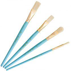Wood Bristle Gold Plated Aluminium Tube Paint Brush Set 4pcs -