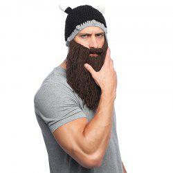 Horned Beard Handmade Hat Wool Winter Warm Knit Cap -