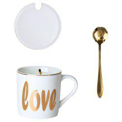 Milk Water Ceramic Mug Coffee Cup with Spoon -