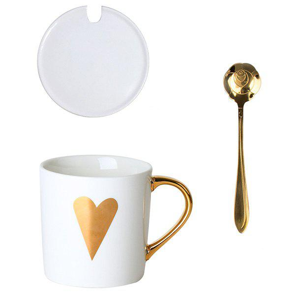 Store Milk Water Ceramic Mug Coffee Cup with Spoon