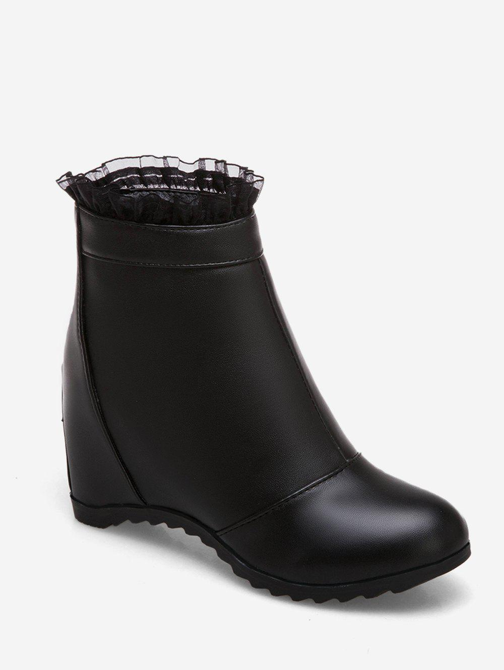 Discount Plus Size Increased Internal Flounced Ankle Boots