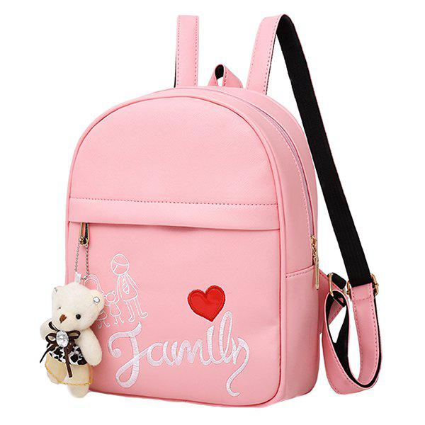 Fancy Youth Fashion Solid Color Embroidery Ladies Backpack Travel 4pcs