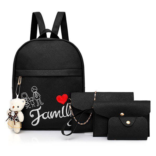 Chic Youth Fashion Solid Color Embroidery Ladies Backpack Travel 4pcs