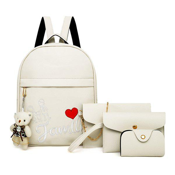 Outfits Youth Fashion Solid Color Embroidery Ladies Backpack Travel 4pcs