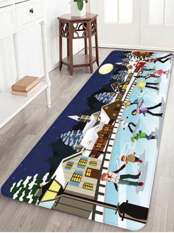 Christmas Night Printed Non-slip Area Rug - LIGHT SKY BLUE - W24 X L71 INCH