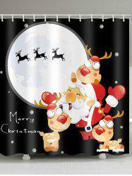 Father Christmas Deer Printed Waterproof Shower Curtain -
