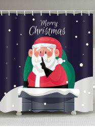 Merry Christmas Santa Claus Printed Waterproof Shower Curtain -