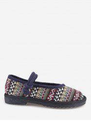 Ethnic Print Loafers Flat Shoes -