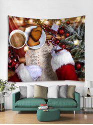 3D Christmas Theme Print Tapestry Art Decoration -