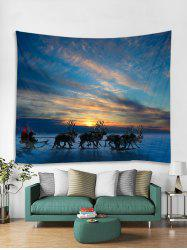 Christmas Deer Sleigh Print Tapestry Art Decoration -