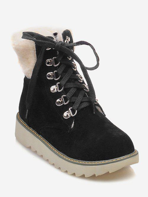 Unique Plus Size Lace Up Faux Fur Boots
