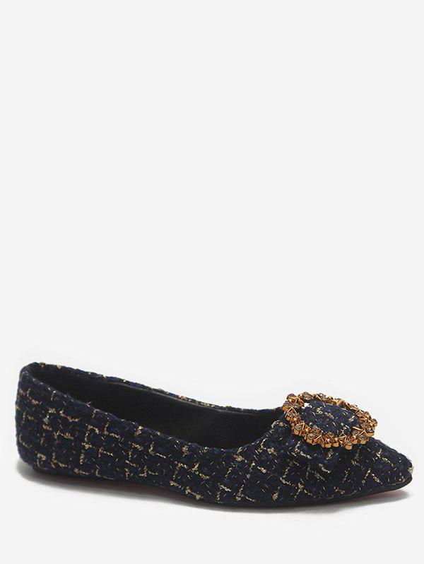 Discount Pointed Toe Plaid Loafers Flats