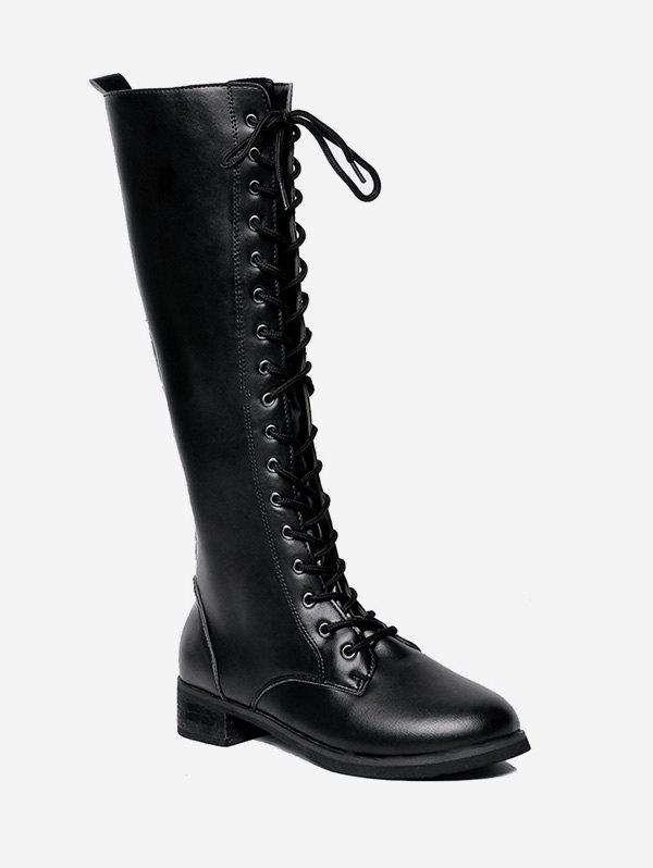 Sale Lace Up Flat Knee High Boots