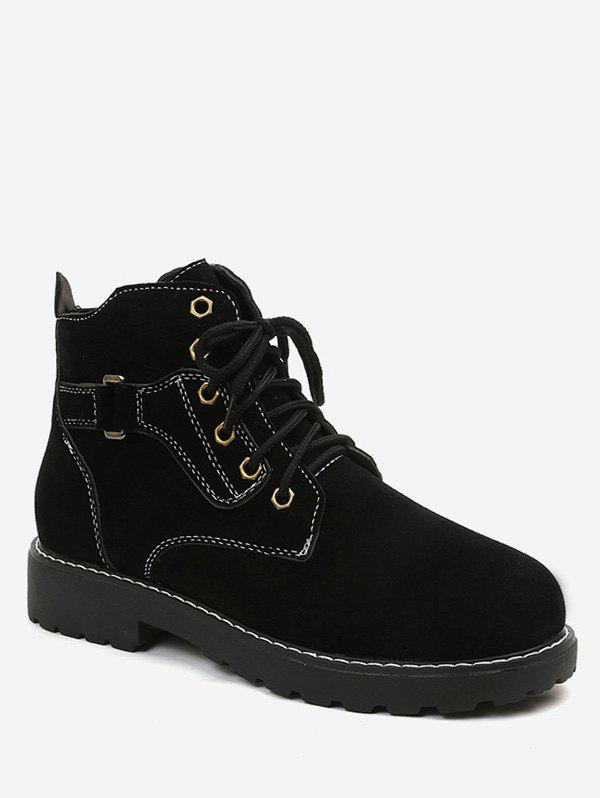 Store Round Toe Lace Up Suede Ankle Boots