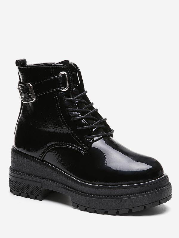 Unique Platform Mid Heel Lace Up Ankle Boots