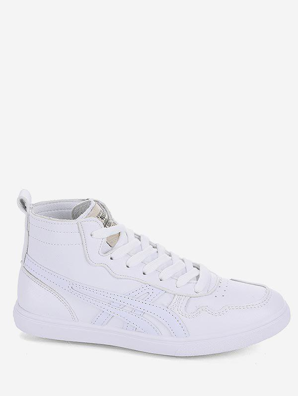 Store Applique Lace Up Mid Top Sneakers