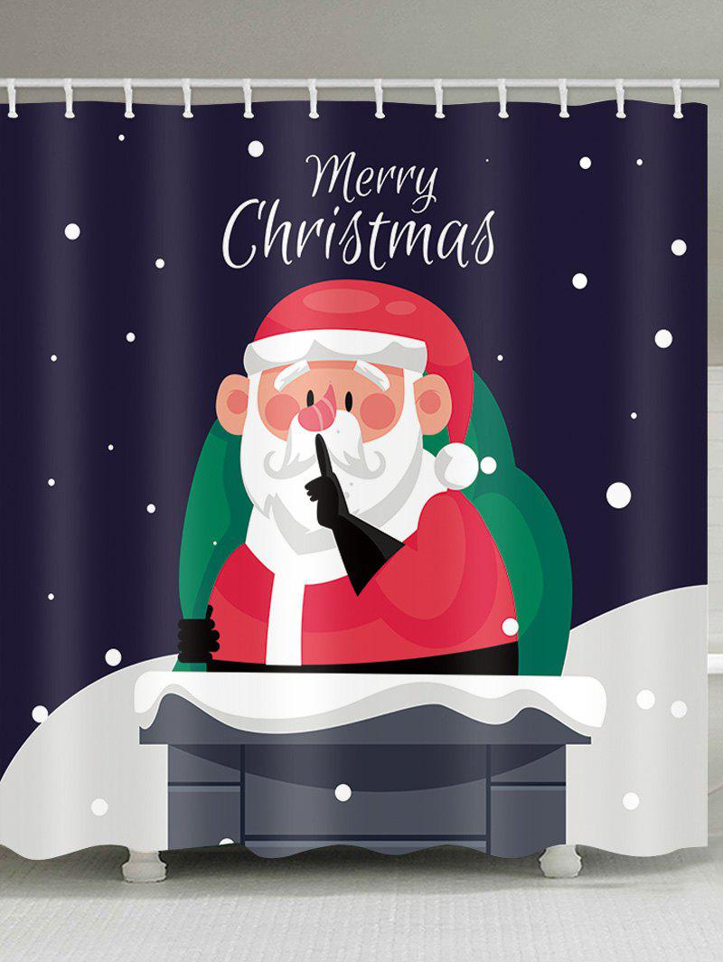 Sale Merry Christmas Santa Claus Printed Waterproof Shower Curtain