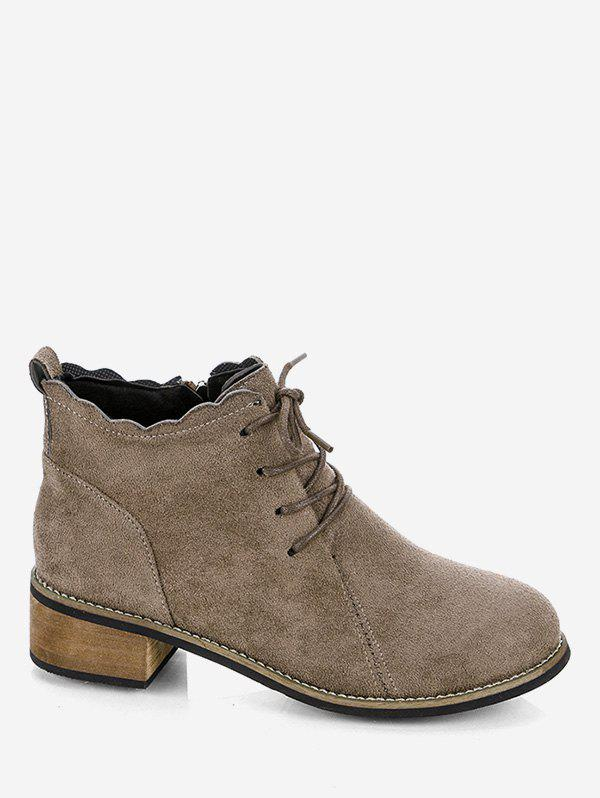 Discount Flounced Hem Lacing Ankle Boots