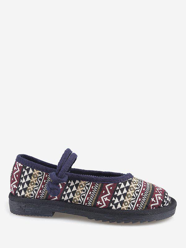 New Ethnic Print Loafers Flat Shoes