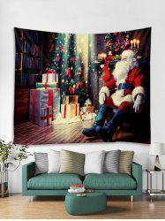 Father Christmas Tree Gift Print Tapestry Art Decoration -