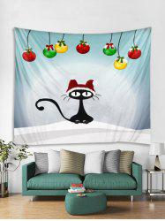 Christmas Cat Print Tapestry Art Decoration -