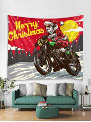 Father Christmas Motorbike Print Tapestry Art Decoration -