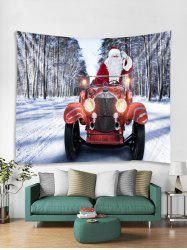 Father Christmas Car Printed Tapestry Art Decoration -