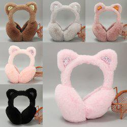 Warm Female Winter Earmuffs Bow Sequins Cat Rabbit Fur -