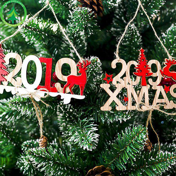 Affordable Decorative 2019 Christmas New Year Alphabet Wooden Openwork Doorplate Ornament
