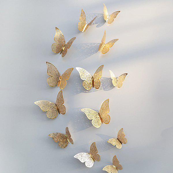 3D Butterfly Pattern Refrigerator / Wall Sticker for Family Party Wedding Decoration 12pcs