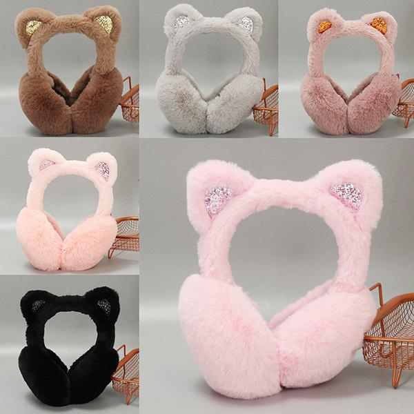 Outfits Warm Female Winter Earmuffs Bow Sequins Cat Rabbit Fur