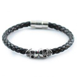 Europe And The United States Foreign Trade Explosions Bracelet Punk Wind Leather Braided Magnetic Buckle Skull Bracelet -