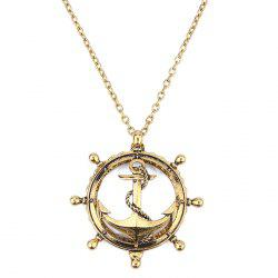 Creative Anchor Hollow Magnifying Glass Necklace Long Retro Personality Pendant -