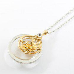 K850  New Carved Rose Hollow Magnifying Open Long Necklace -