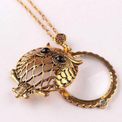 Personality Owl Retro Necklace Magnifying Glass Round Pendant -