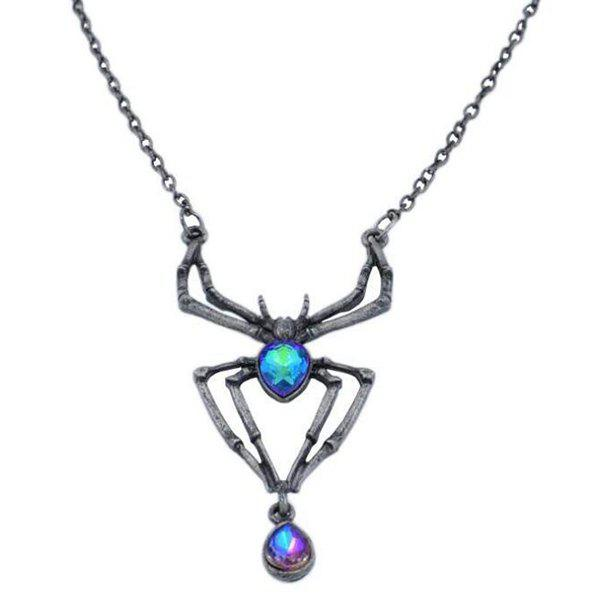 European American Halloween alliage bijoux diamant simple collier araignée rétro mode incrustation micro zircon pendentif