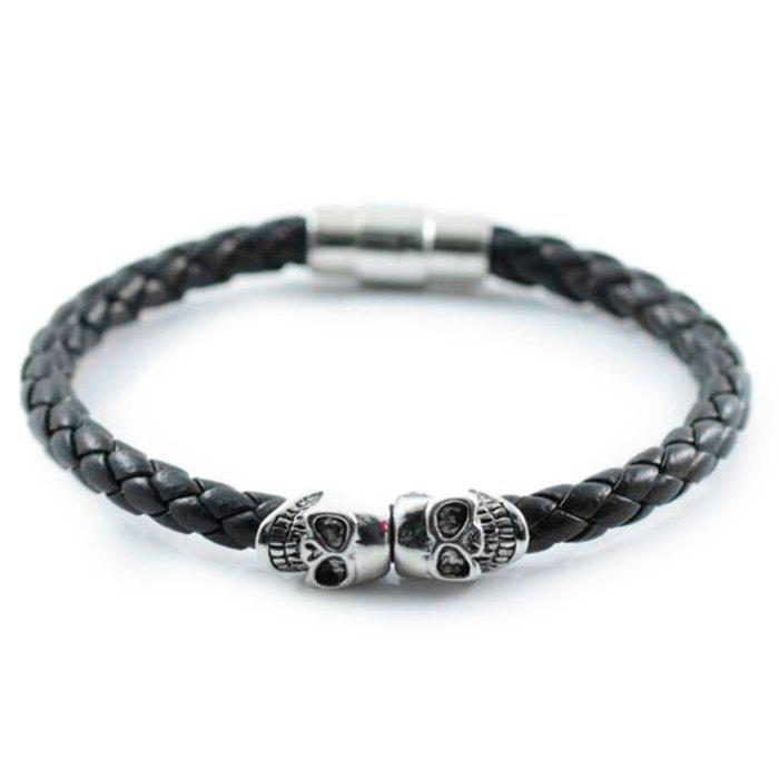Hot Europe And The United States Foreign Trade Explosions Bracelet Punk Wind Leather Braided Magnetic Buckle Skull Bracelet