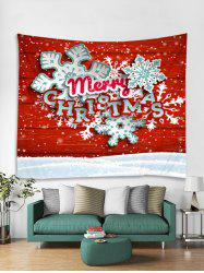 Merry Christmas Snowflake Print Tapestry Wall Hanging Decoration -