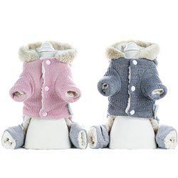 Autumn Winter Rabbit Fur Hooded Warm Four-legged Pet Cotton Coat -