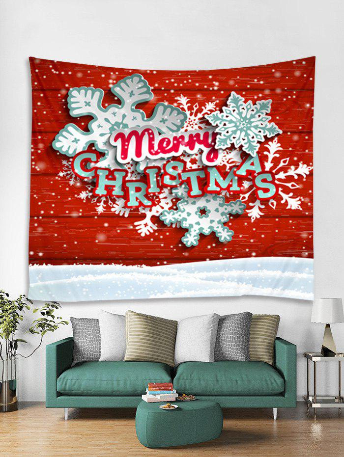 Chic Merry Christmas Snowflake Print Tapestry Wall Hanging Decoration