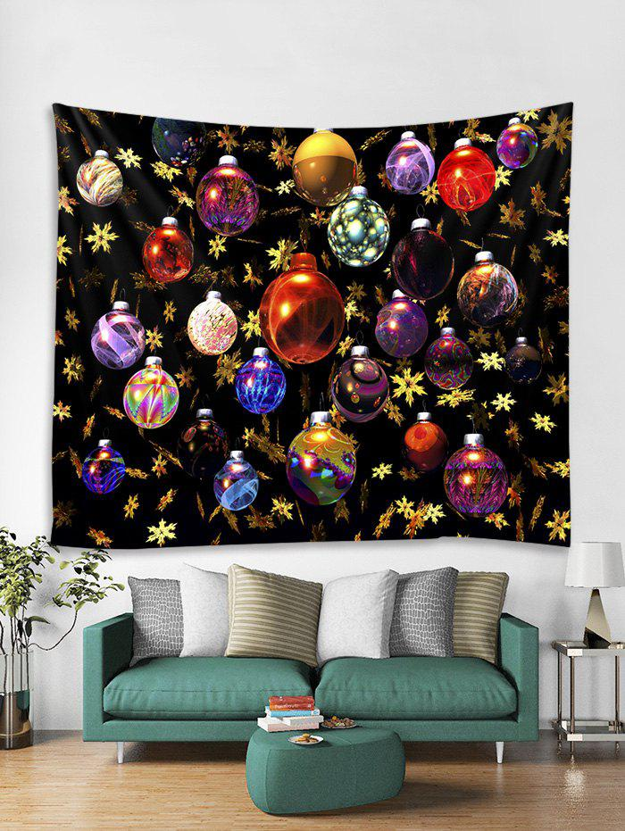Discount Christmas Colorful Balls Print Tapestry Wall Hanging Decoration
