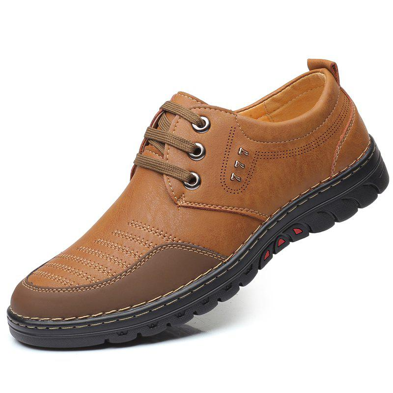 Shop Men Comfortable Leather Shoes Lace-up Casual