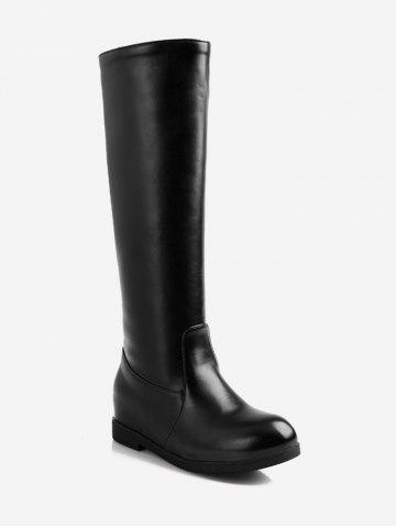 Plus Size PU Leather Knee High Boots