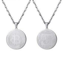 PSP3317 Stainless Steel Bitcoin Commemorative Coin Pendant + Water Wave Chain -