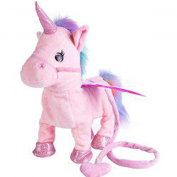 Cute Walk Sing Electric Unicorn Leash Flying Horse Plush Toy -