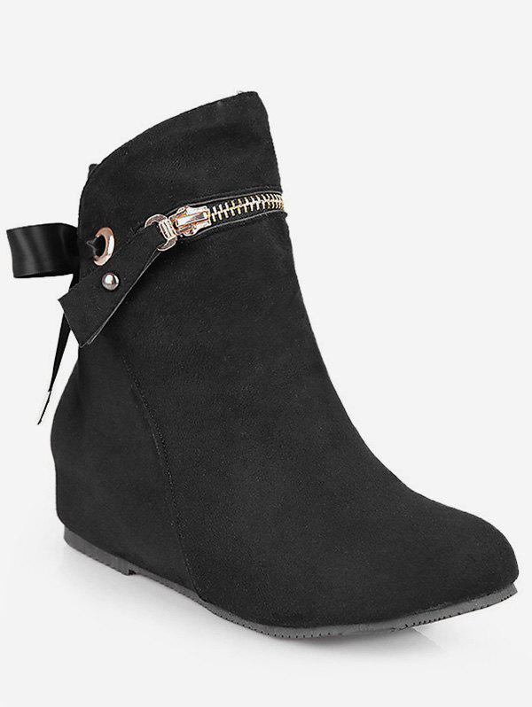 Fashion Plus Size Tie Back Increased Internal Ankle Boots